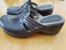 DANELLE Brown Leather Clog Slip-On Wedge Women's Size 7.5 M
