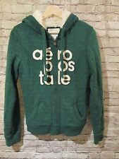 Aeropostale Faux Fur Lined Green Sweatshirt Coat Jacket Full Zip Size Medium