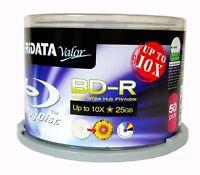 50 RIDATA Valor BluRay Up to 10X Blank BD-R 25GB White Inkjet Hub Printable Disc