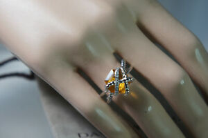 David Yurman 925 Silver Gold Citrine Cable Wrap Crossover Diamond Ring Size 7