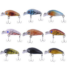 9pcs/Lot Plastic Fishing Lures Road Sub Bait 4.5cm Bass Crankbait Tackle Hooks