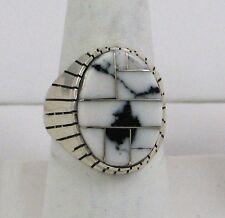Navajo Indian Ring White Buffalo Turq Inlay Size 10-1/4 Sterling Silver Ray Jack