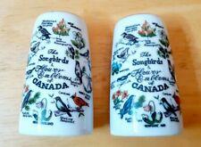 The Songbirds & Flower Emblems Of Canada Salt & Pepper Shakers Vtg Novelty Nice!