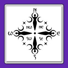 12 X 12 Wiccan Goddess Compass Face Stencil Moons/Travel/North/South/ East/West