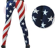 US Women's American US Flag Stars and Stripes Print Slim Leggings Skinny Pants