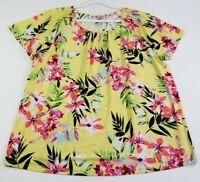 Croft & Barrow Women's Short Sleeve Top 2X Multicolor Floral Scoopneck Stretch