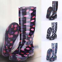 New Women Rain Boots Anti-Slip Waterproof Wellies Heeled Wellington Boots Shoes