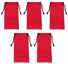 5 x Red Glasses Sunglasses Pouch Case Drawstring Soft Bag Wallet Phone Reading