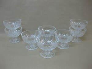 8 Vintage Crystal / Cut Glass Sundae Glasses / Dishes ~ Prawn Cocktail / Dessert