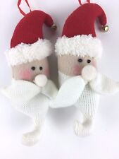2 New Santa Claus Heads Cap & Beard Christmas Tree Ornaments Stuffed Knit & Felt