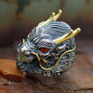 925 Sterling Silver VINTAGE biker Retro men's dragon handmade Jewelry Ring S5160