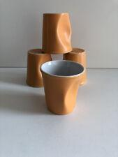 4 TASSES DESIGN GOBELETS FROISSES A CAFÉ CAPPUCCINO PORCELAINE REVOL