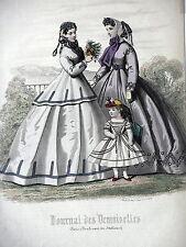 GRAVURE ANCIENNE MODE 19e - JOURNAL DES DEMOISELLES -  JUIN 1865