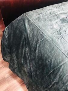 """RARE Wamsutta Velvet Hand Stitched King Duvet Cover Green 108x96"""""""