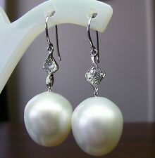 16.2mm!! SOUTH SEA PEARLS +DIAMONDS +18ct SOLID W GOLD EARRINGS +CERT AVAILABLE