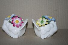 Set 2 Vtg Crown Staffordshire Fine Bone China Turkey & Applied Flowers Figurine