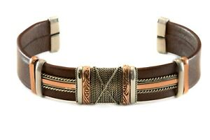 Leather Cuff Bracelet Black or Brown Sterling Silver Copper   Adjustable 7 8 9