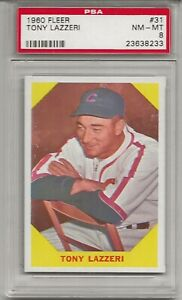 1960 FLEER #31 TONY LAZZERI, PSA 8 NM-MT, HOF,  CHICAGO CUBS, L@@K