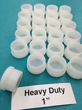 "24 Plastic White Patio Chair Leg Feet Inserts Cups 1"" Glide Caps 1 inch"