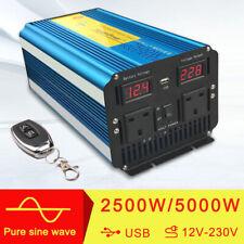 PURE SINE WAVE 2500W MAX 5000W 12V TO 220V POWER INVERTER CARAVAN Remote Control