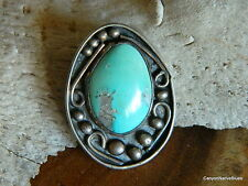 Vintage Old Pawn Sterling Silver Navajo Turquoise Necklace Pendant FREE SHIP