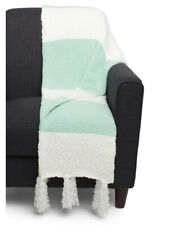 Nwt Nicole Miller Artelier Mint Green White Popcorn Chenille Throw Blanket 50x60