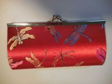 Red Dragonfly Small Clutch Handbag Wallet Metal frame