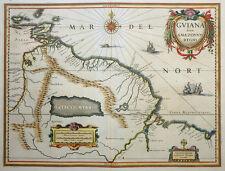 GUIANA SIVE AMAZONUM REGIO SÜDAMERIKA KARTE BLAEU PARIMA SEE ORINOCO GOLDEN 1640