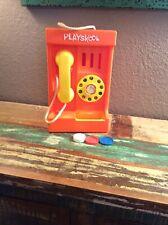 VTG Orange Playskool Pay Phone Rotary Telephone Toy Hard Plastic