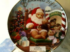 Nib 2001 Avon Christmas Plate -Visit With Santa -(22 Kt Gold Trim)-Free Shipping