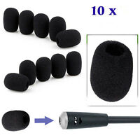10pcs Mini Black Microphone Headset Windscreen Sponge Foam Mic Cover Protector