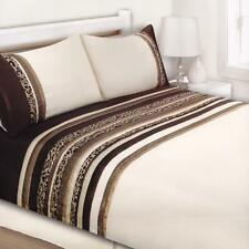 Cream Brown Beige Leopard KING Quilt Cover Set Polyester Flocked Doona Duvet Set