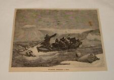 1876 magazine engraving ~ Walruses Attacking A Boat