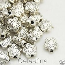 50 Antique Silver Spacer Beads - Ornate Flower Daisy Spacers  - x 7mm