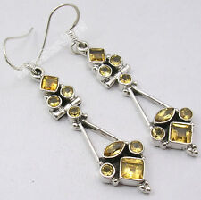 "3 Gemstone Earrings !! 925 Solid Silver NATURAL CITRINE HANDWORK Jewelry 2.1"""