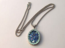 Stunning Sterling Silver Jewelry Roman Glass Unique Pendant Oval Design Necklace