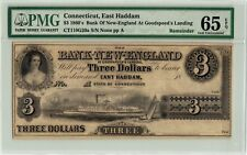 RARE CONNECTICUT, EAST HADDAM $3 DOLLARS 1860's PMG 65 GEM UNC BANKNOTE!!