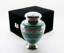 "Solid Brass 6"" Green Turquoise Cremation Memorial Funeral Urn Up To 16.5 kg NIB"