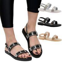 Ladies Summer Sandals Diamante Slider Women Beach FlipFlop Flat Jelly Shoes Size