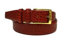 DOMENICO VACCA Embossed Leather Belt Gold Buckle Red Sz 40 190840AT