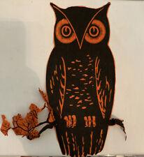 Antique Vintage Halloween Diecut Crepe Paper Owl 1920s
