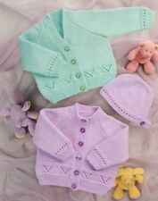 """Easy Knitting Pattern 12-24"""" Cardigans & Hat Double Knit inc Premature sizes"""