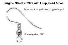 20 surgical stainless steel ear hooks earring findings hypoallergenic - ushes