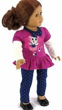 Cheerleader Top & Leggings Pant Set Doll Clothes For 18 Inch American Girl 2 PC