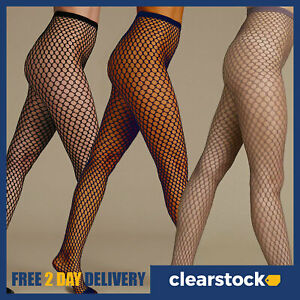 M&S Black Navy Taupe Ladies Womens Sexy Large Whale Fish Net Pattern Tights S-XL