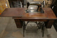 "Antique Singer Model 66 ""REDEYE"" Sewing Machine & 6 Drawer Treadle Cabinet"