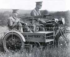 ANTIQUE REPRO WW1 8X10 PHOTO SIDECAR MACHINE GUN MOUNTED INDIAN MOTORCYCLE