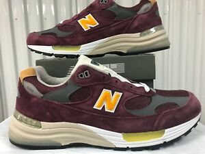 New Balance 992 Burgundy Gold Yellow 3M 12 M992CA MADE USA Classic Sneakers kith