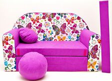 Pro Cosmo M33 Kids Sofa Bed With Pouffe/footstool/pillow Fabric Dark Purple 1
