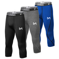 Mens Compression Leggings 3/4 Running Gym Tights Sports Pants Base Layer Bottom